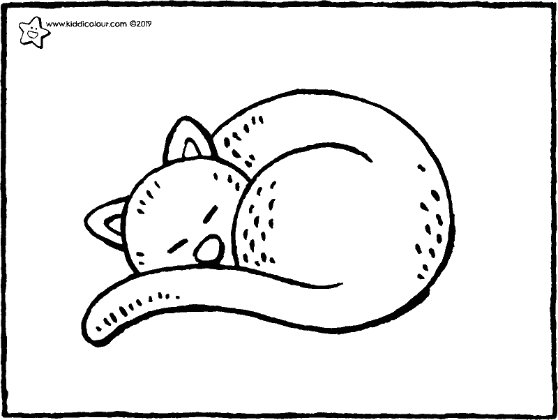 chat endormi coloriage dessin image à colorier 01k